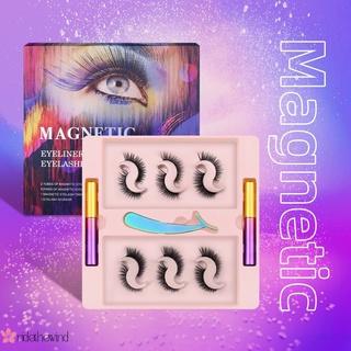 Beauty amazon 6 pairs of magnetic magnetic false eyelashes cross-border six magnetic magnetic natural thick eyelashes liquid eyeliner set WIND
