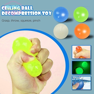 【RVPCL】 4/8pcs Ceiling Sticky Ball Decompress Stress Relief Ball Glowing Stress Relief Toy Tear-Resistant Fun Toy for Kids Adult @VN