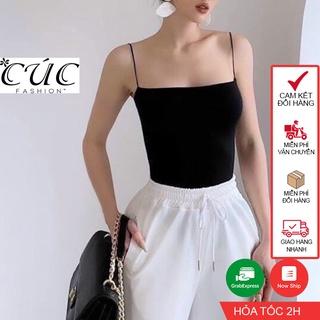 Áo 2 dây nữ đen trắng basic Cúc Fashion A015 áo hai dây bún thumbnail