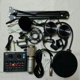 Combo trọn bộ livestream, thu âm, hát karaoke onlie BM-900 ,Sound Card V8 bluetooth, chân kẹp màng lọc tai nghe