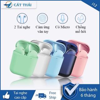 [TẶNG DÂY SẠC] Tai nghe Bluetooth không dây Cát Thái inPods i12 bản mới 2 tai nghe cao cấp nhỏ gọn âm thanh chất lượng