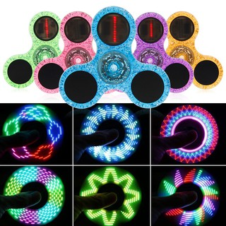 LED Flash Light Crystal Fidget Hand Spinner Finger Toy EDC Focus Gyro Adult kids