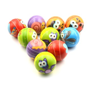 1PCS 6.3cm Hand Wrist Exercise PU Rubber Toy Balls Snails Print Sponge Foam Ball Squeeze Stress Ball Relief Toy