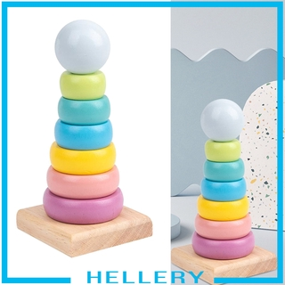 [HELLERY] Rainbow Tower Ring Wooden Stacking Stack Up Kid Baby Educational Montessori Toy