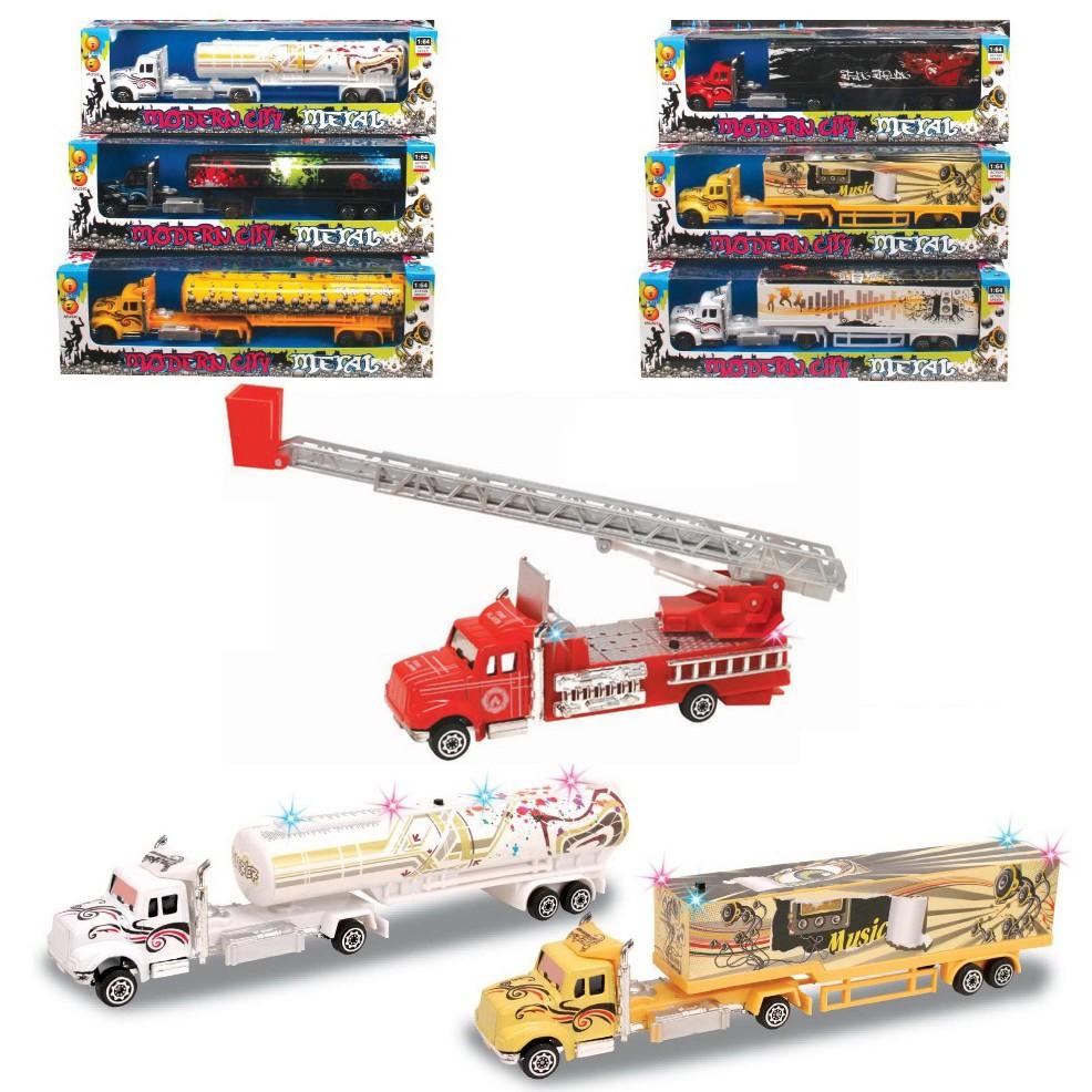 Bộ 3 mô hình xe đồ chơi cho bé: xe bồn, xe công ten nơ và xe cứu hỏa.