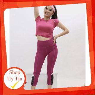 Bộ quần áo tập gym yoga thể thao ngắn tay quần lửng thun co giãn màu hồng Liên hệ mua hàng 084.209.1989