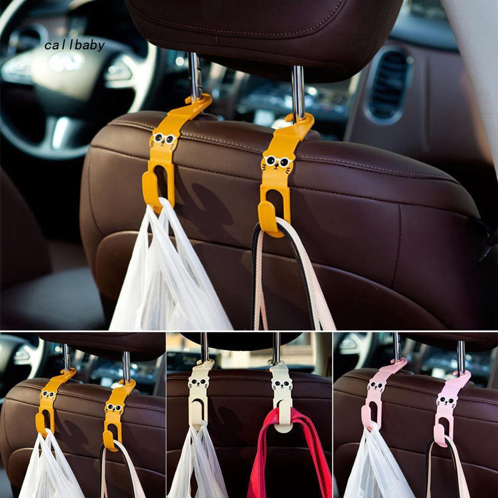 CLBB_2Pcs Cartoon Car Back Seat Headrest Hanger Hook for Bag Purse Grocery Clip Clasp