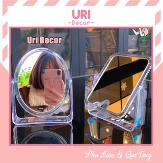 Gương soi trang điểm để bàn trong suốt nhựa Acrylic 2 mặt xoay 360 độ phong cách Hàn Quốc URI DECOR