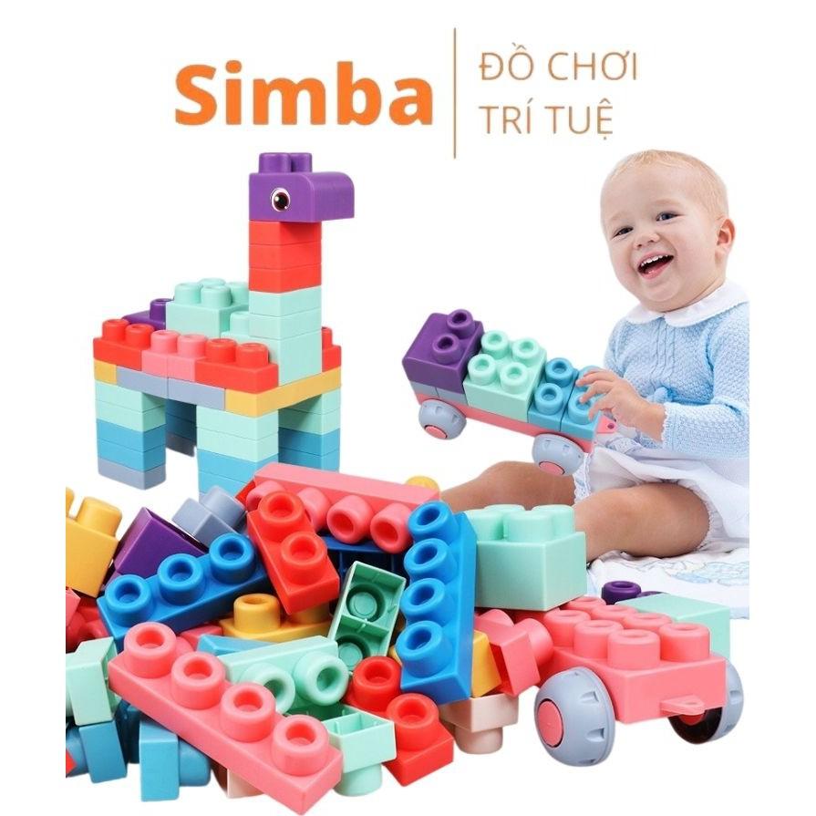 LEGO nhựa dẻo 50 chi tiết kích thước siêu to đồ chơi Simbaba phát triển tư duy cho bé từ 1 tuổi
