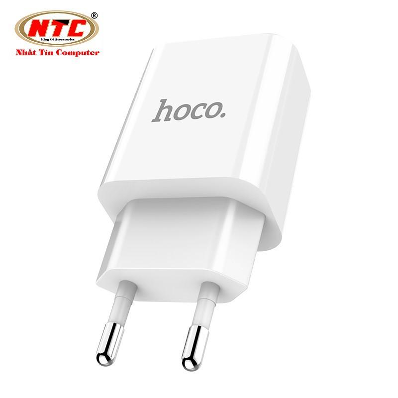 Cốc sạc 2 cổng Hoco C63A EU - MAX 5V-2.1A - màn hình LCD hiển thị điện áp (Trắng) - Hãng phân phối chính thức