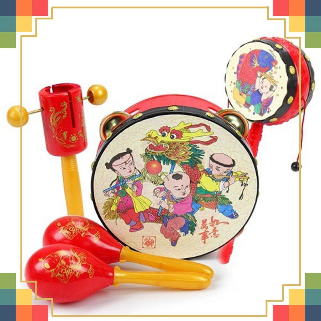 Bộ đồ chơi trống cầm tay cho trẻ 5 món loại tốt