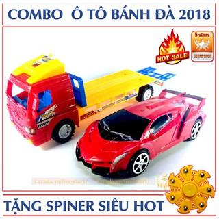 Bộ đồ chơi ô tô tải chở hàng kèm 1 ô tô thể thao 2 in 1 + Tặng con quay Spiner