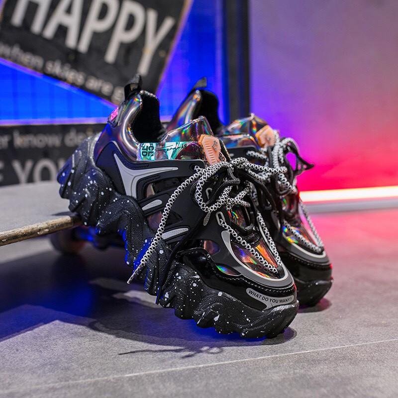 Giày thể thao nữ Wany độn đế vảy sơn viền bóng dây kép