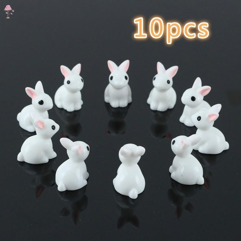 LC 10 Pcs Miniature Mini Rabbit Resin Garden Fairy Ornament Flower Plant Pot Home Figurine Animal Decor @MY