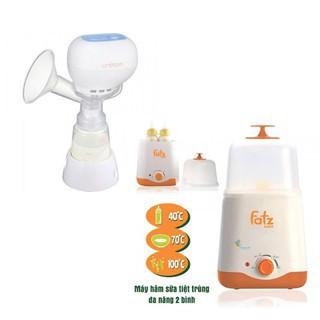 Máy hút sữa điện đơn Kpop Unimom UM871104 và Máy hâm sữa tiệt trùng 2 bình cổ rộng FatzBaby FB3011SL thumbnail