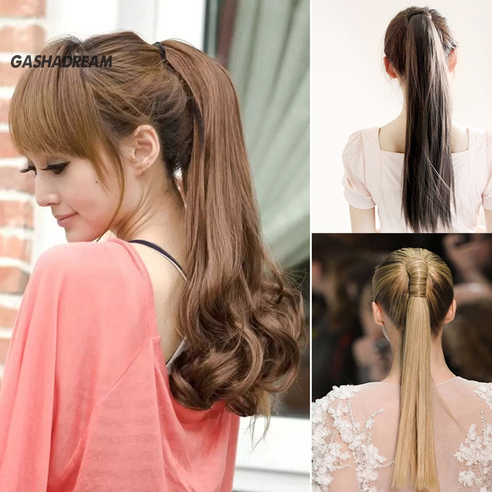 ♉Gd Long Straight Curly Ponytail Hair Extension Wrap Around Ribbon Clip-in Hairpiece