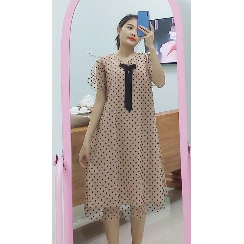 Mặc gì đẹp: Dễ chịu với Váy bầu đẹp - Đầm bầu suông voan bi 2 lớp thời trang V218
