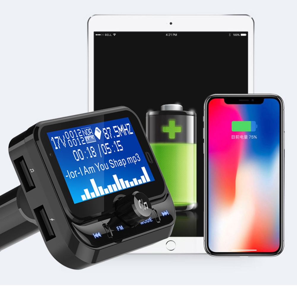 """1.8"""" LCD Display Bluetooth Stereo 7 Languages Handsfree AUX Input Electronic Wireless Car Styling FM Transmitter"""