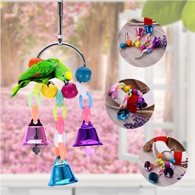 Bell String Suspension Bridge Chain Toys Hanging Squirrel Parakeet Cage Toys