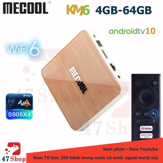 Android Box MECOOL KM6 DELUXE, Amlogic S905X4, RAM 4GB, ROM 64GB, Android TV 10