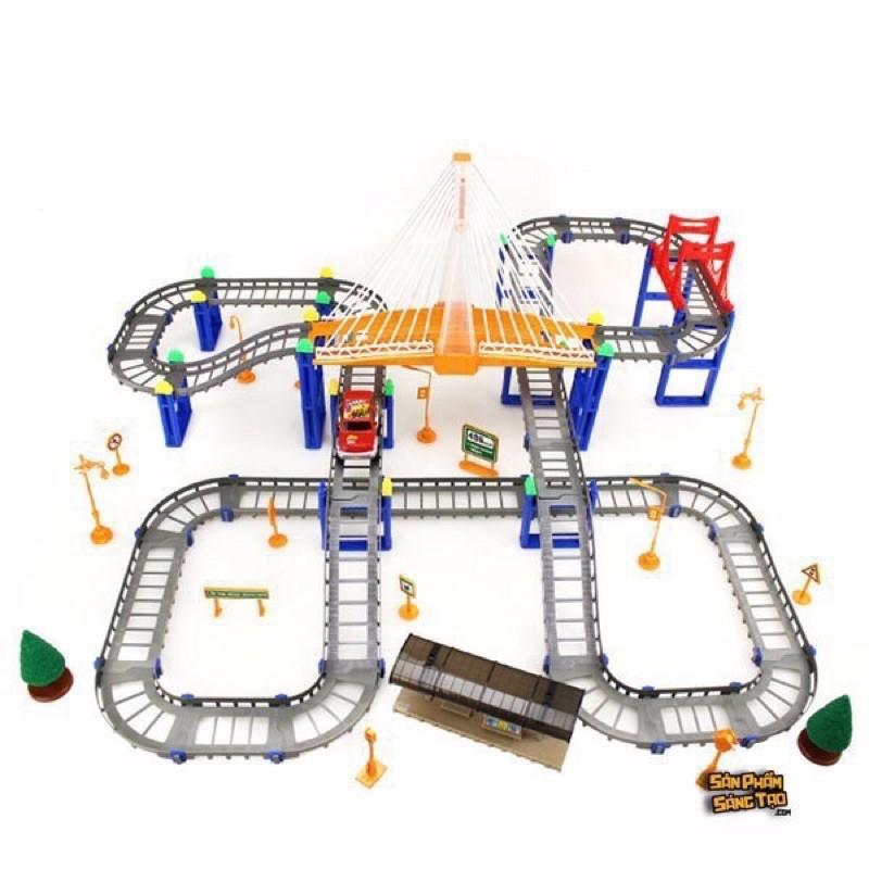 Bộ đồ chơi lăp ráp đường ray ôtô 88 chi tiết