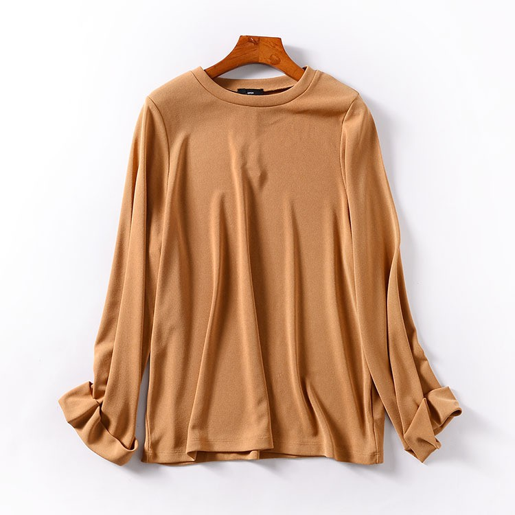 H@31 Autumn long-sleeved round neck loose top Korean version of the pure color s
