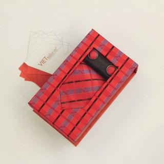 Cà Vạt Hộp Cao Cấp CVH17 Đỏ Họa Tiết Kẻ Caro
