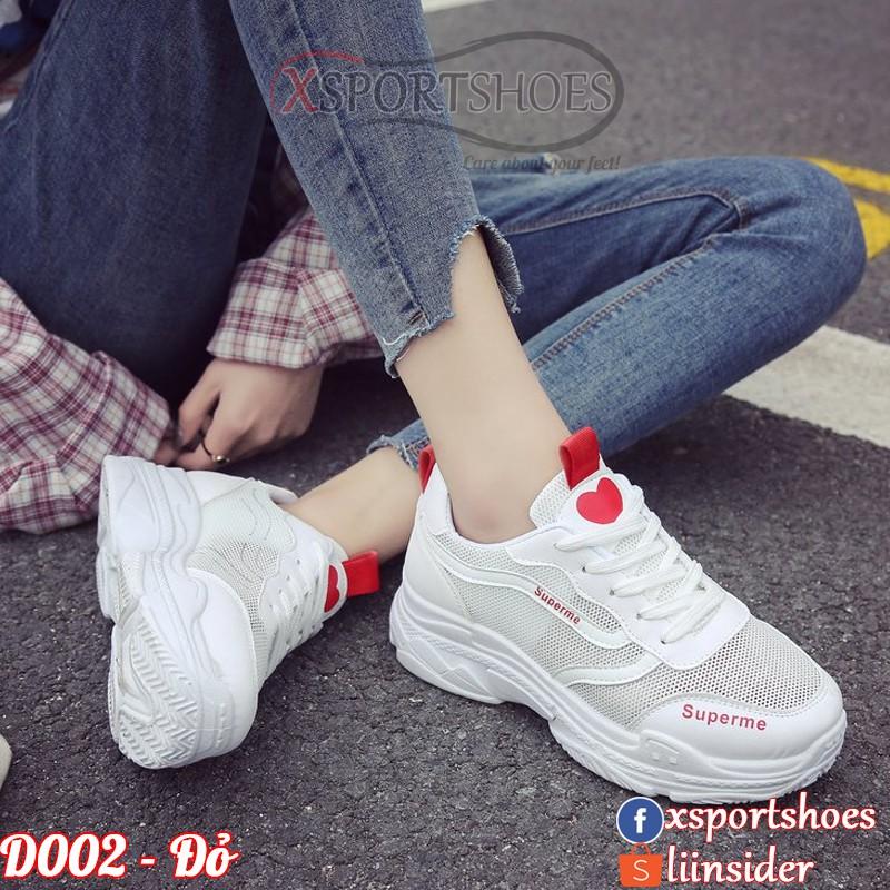 Giày Ulzzang thể thao nữ D002 màu trắng đen, trắng hồng và trắng đỏ
