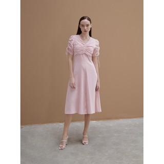 COCO SIN - Đầm Cotton Hồng Linen Tay Rút thumbnail