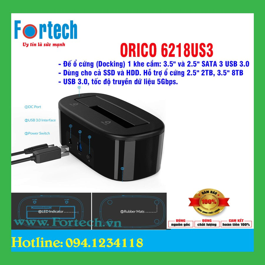 Đế ổ cứng (Docking) 1 khe cắm: 3.5″ và 2.5″ SATA 3 USB 3.0 6218US3 Giá chỉ 345.000₫