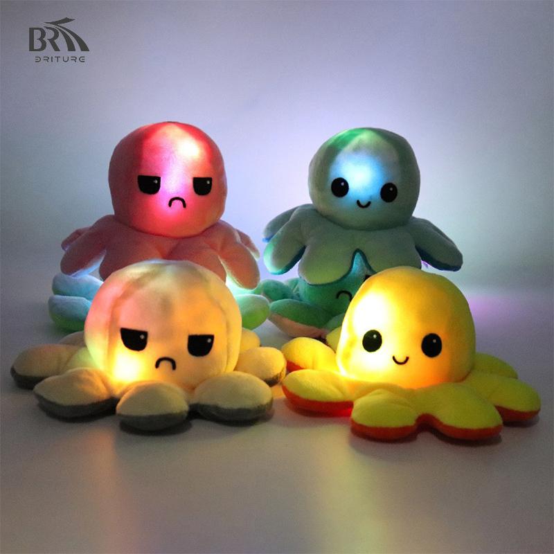 New face LED flip Octopus Stuffed Toy Reversible Octopus two color Gấu Bông Bạch Tuộc Cảm Xúc 2 Mặt