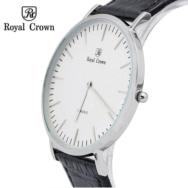 [ROYAL CROWN CHÍNH HÃNG] Đồng hồ Nam Chính Hãng Royal Crown 7601M dây da đen