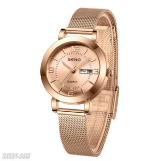 Đồng hồ nữ SENO hàng cao cấp dây kim loại chống nước mặt sapphia trangmoonshop