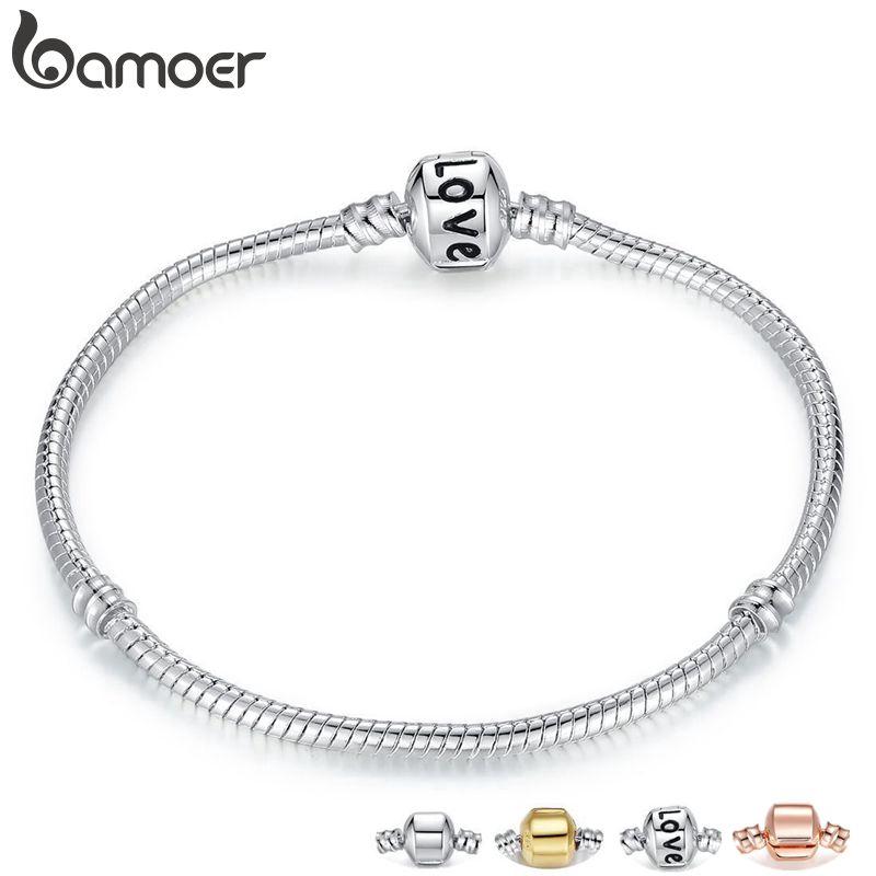 Vòng tay Bamoer mạ vàng hồng / bạc xinh xắn