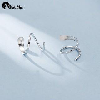 Khuyên tai nữ Miêu Bạc trơn xoắn phong cách thời trang Ulzzang Unisex - B000116