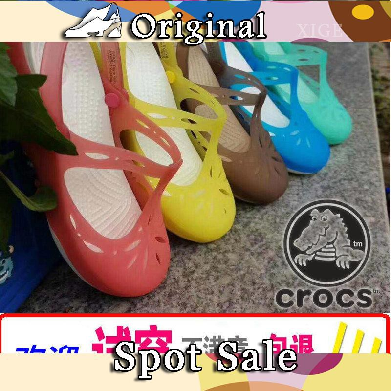 Crocs women's shoes Kaluochi Mary Jane beach shoes summer hole shoes increased Baotou wedge heel hollow sandals