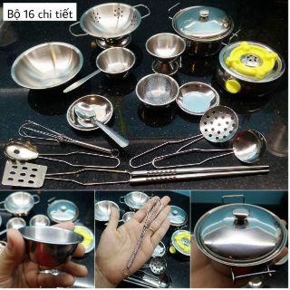 Bộ đồ chơi nấu ăn chất liệu inox không gỉ 16 chi tiết