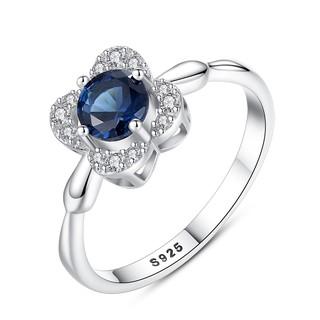 Hình ảnh Nhẫn Bạc Nữ Hình Hoa Bốn Cánh Đính Đá Xanh Lam N-2395-Bảo Ngọc Jewelry-0