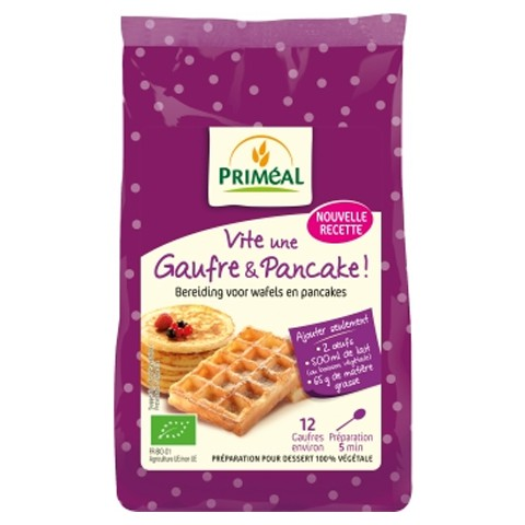 Bột bánh waffle và pancake hữu cơ pha sẵn Primeal 400g
