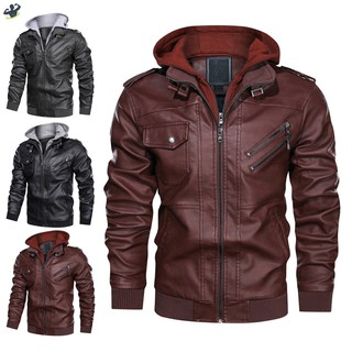LL Men Outwear PU Leather Jackets Coat Zipper Detachable Hat with Pockets for Autumn @VN