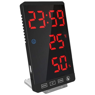 Digital Alarm Clock,Large LED Display Electronic Clocks with Temperature Detect ern Mirror Desk Wall Clock