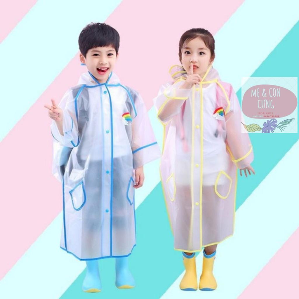 Áo mưa trẻ em 💕FREESHIP💕 Áo mưa trong suốt có phần che balo kiểu dáng Hàn Quốc