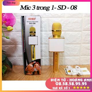 Mic hát karaoke bluetooth SD08 (Mic SD08-Sd10-SD17-SD18-YS90-YS91-YS92-YS93-YS95-L698)  3 in 1 loa to Mic Bass cực chuẩn