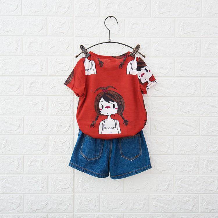 Áo thun bé gái nữ màu đỏ in hình