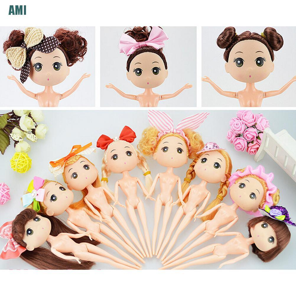 [D] 18cm Mini Dolls With Brown Golden Hair Cake Decor Cute Ddung Dolls Kids Toys (ghg)