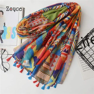 Zoyce Women Geometry Pattern Scarf Tassel Shawl Cover Up