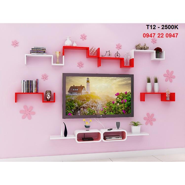 Kệ tivi treo tường DIACHIRE gỗ lõi xanh chống ẩm cho phòng khách cá tính T12 - Tặng 9 bông hoa gỗ dá