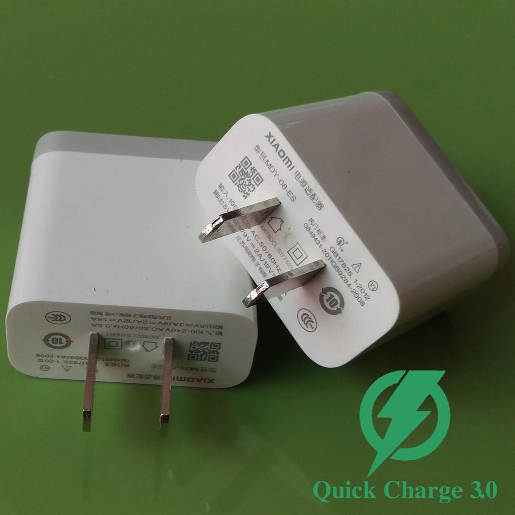 Củ sạc Xiaomi Quick Charge 3.0, 5V-3A - 9V/2A - 12V/1.5A (18W) / Củ xạc nhanh Xiaomi 18W Quick Charge 3.0