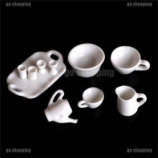 go shopping 10pcs Dollhouse Miniature Dining Ware Tea Set Dish Cup Plate thumbnail