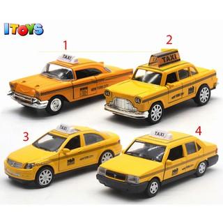 Xe ô tô taxi hợp kim màu vàng 12cm PT42